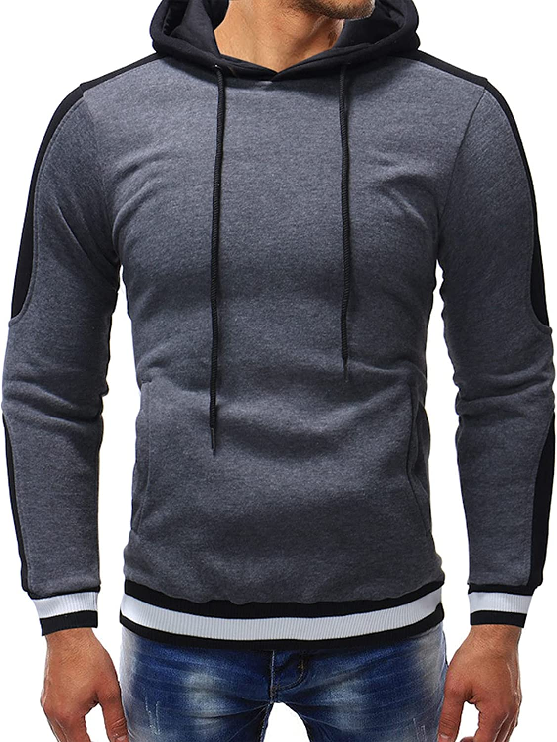 XXBR Fall Hoodies for Mens, Threaded cuffs Drawstring Hooded Sweatshirts Color Block Patchwork Workout Casual Pullover