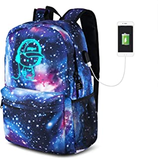 School Backpack Anime, Luminous School Bookbag with USB Charge Port, Pencil Case