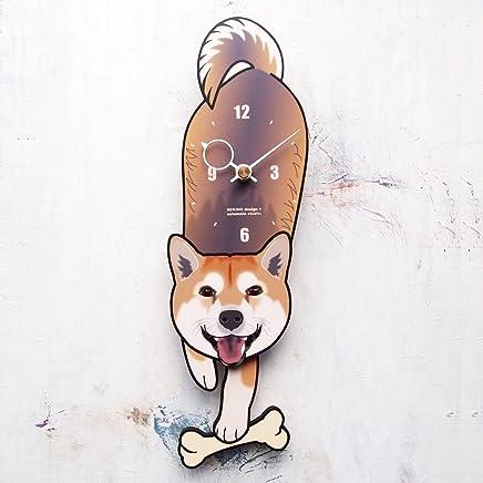 D-67 柴犬(口開き)-犬の振り子時計