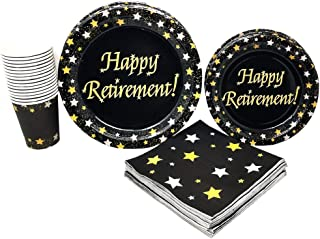 Retirement Party Supplies (65+ Pieces for 16 Guests!), Milestone Celebration Kit, Retirement Tableware Pack, Black, Gold and Silver Decorations