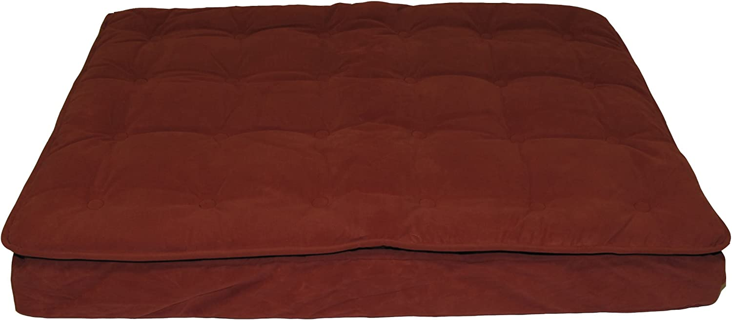 CPC Luxury Pillow Ex Large Top Mattress Pet Bed, Earth Red