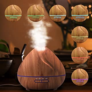 Protable Ultrasonic Air Purifier Humidifier - Cool Mist Aroma Oil Diffuser - 400 ml Humidification with 7Color Light for Home Office Desk Yoga Relieve Stress