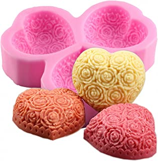 MoldFun 3-Cavity Heart Shaped Rose Flower Silicone Mold for Soap, Lotion Bar, Bath Bomb, Candle