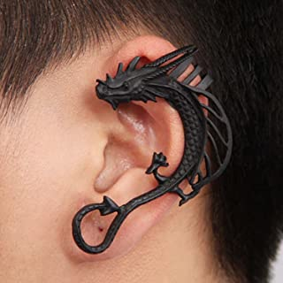 A&C Distinctive Dragon Earrings for Women, Fashion Eardrop & Dangle for Women. (Black) (Just for Left Ear)