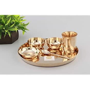 Copper-Master Pure Bronze Thali Set Hand Made 6 Piece Dinner Thali Set |1 Dinner Plate 2 Bowl 1 Rice Plate 1 Glass & 1 Spoon | Home, Hotel Restaurant |Ayurvedic Health Benefits