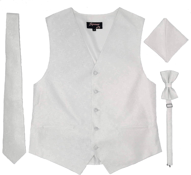 Spencer J's Men's Formal Tuxedo Suit Vest Paisley Tie Bowtie and Pocket Square 4 Peace Set Variety of Colors (White, S (Coat Size 35-37))