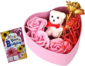 Natali Traders Birthday Love Gift - Heart Shape Box of 3 Scented Rose with Small Teddy, Artificial Golden Rose & Small B'Day Card - Birthday Gift for Girlfriend-Wife-Fiancee (Pink)