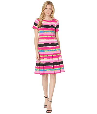 Tahari by ASL Short Sleeve Abstract Stripe Stretch Scuba Crepe Fit-and-Flare Dress w/ Pleats Women
