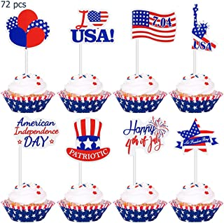 Amosfun Independence Day Cupcake Toppers 72 Pieces 4th of July Cake Toppers USA Patriotic Cake Topper Toothpicks Decorations for 4th of July Independence Day Party Supplies