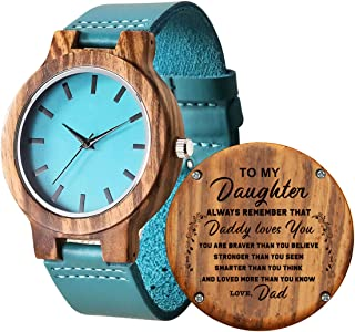 Personalized Wooden Watch for Daughter, Engraved ''to My Daughter