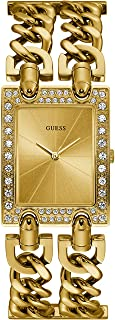 Guess mod heavy metal Womens Analog Quartz Watch with Stainless Steel Gold Plated bracelet W1121L2