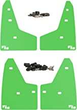 RokBlokz Mud Flaps for 2016+ Ford Focus RS. Set of 4. Includes All Hardware and Instructions. (Lime Green with White Logo)
