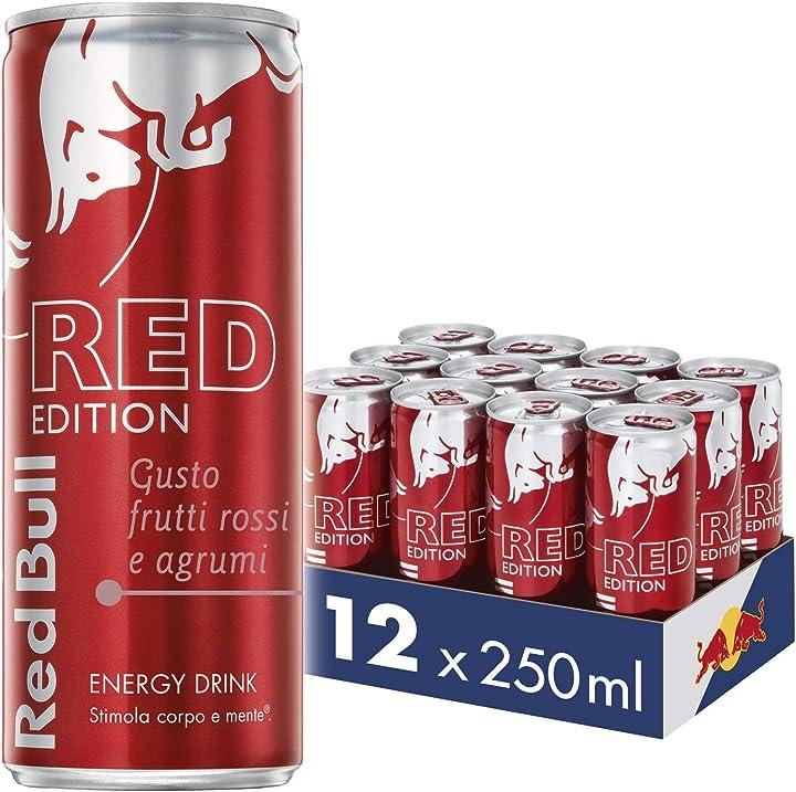 Red bull energy drink gusto frutti rossi e agrumi, 12 lattine da 250 ml B01FDLU6U4