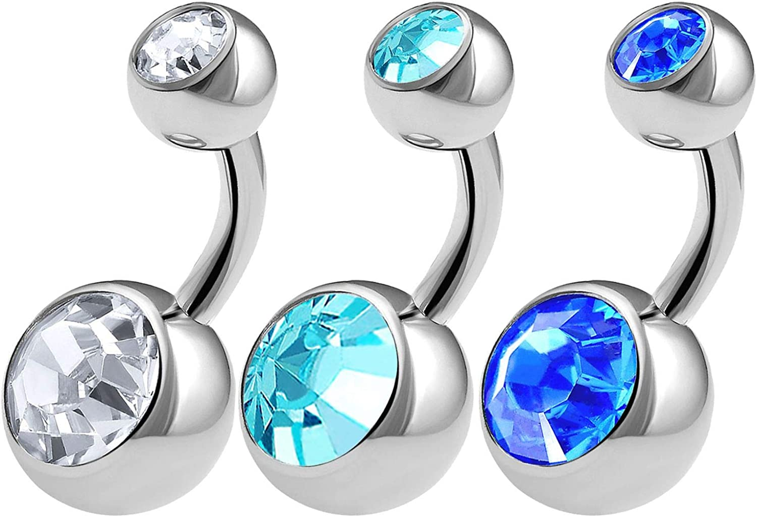 BanaVega 3PCS 316L Surgical Steel Shallow Belly Button Rings Studs 14 Gauge 1/4 6mm Clear Aquamarine Short Navel Bars Choose Colors
