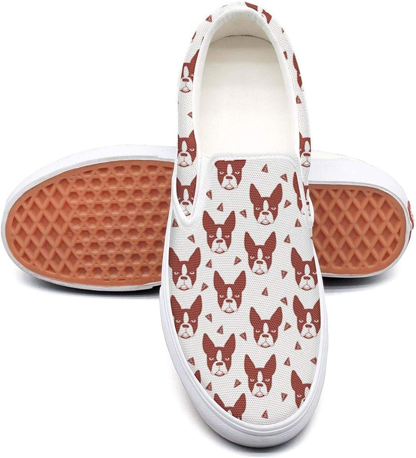 Feenfling Boston Terrier Cute Dog Womens Casual Slip on Low Top Canvas Deck shoes