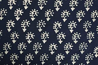 Handicraft-Palace Floral Printed Natural Running Vegetable Color Fabric Dress Making Voile Fabric Cotton Sanganeri Hand Block Printed Soft Fabric 1.1 MeterWidth (Blue_3 Meter)