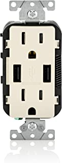 Leviton T5632-T 15-Amp USB Charger/Tamper Resistant Duplex Receptacle, Light Almond, 1-Pack