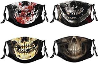 4 Pcs Skull Face Mask With Filter Pocket Reusable Adjustable Breathable Fashion Balaclava For Adult Women Men