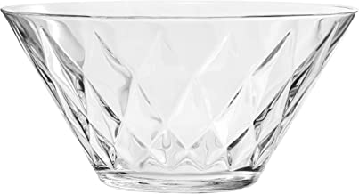 Red Co. Premium Etched Glass Multipurpose Serving Bowl, Crystal Clear Fruit Bowl, 64 oz