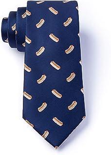 Men's Navy Blue Microfiber Hot Dogs Dreams Foodie Tie Necktie