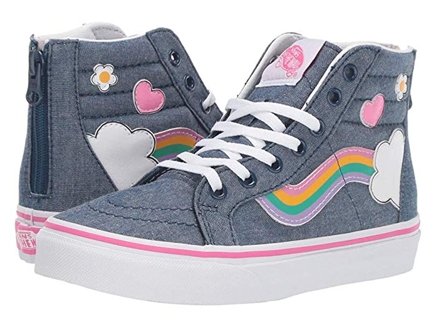 Vans Kids SK8-HI Zip (Rainbow SIDESTRIPE) Denim/White