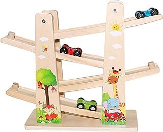Jouet en Bois pour Bébé/Enfant, Jouet de Voiture - Rampe de Course de la Forêts - Circuit Zig Zag avec Parking 4 * Voiture...