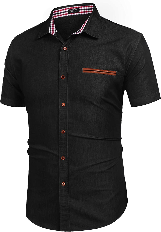 COOFANDY Men's Casual Short Sleeve Dress Button Shirt Down Denim Mesa Mall Elegant