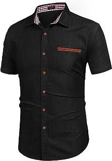 دکمه آستین کوتاه گاه به گاه مردانه COOFANDY پیراهن لباس جین پیراهن آستین کوتاه