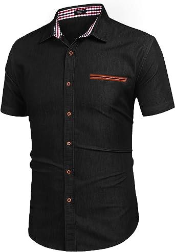 COOFANDY Camisa Vaquera Camisa Manga Corta Hombre Camisa Vaquera Cuadros Slim fit Casual Cuello Kent Hombre