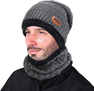ABLE Men Winter Slouchy Beanie Hat Scarf Set Women Lined Thick Knit Skull Cap