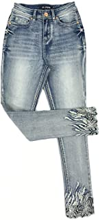 Women's High Rise Stretch Embroidered Sequins Slim Skinny Denim Jeans Tenths Pants