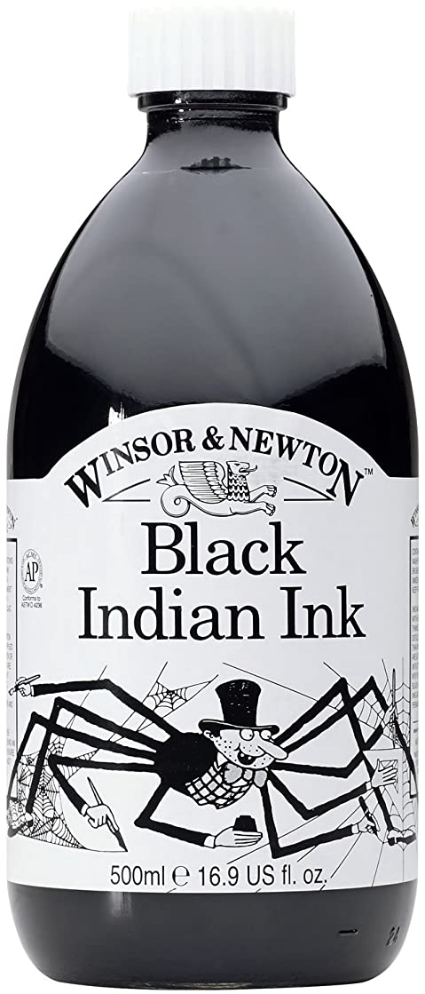 Winsor & Newton 500Ml Water Resistant Drawing Ink - Black Indian