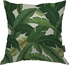 Moslion Throw Pillow Cover Banana Leaves 18x18 Inch Fashion Fresh Nature Tropical Tree Green Square Pillow Case Cushion Cover for Father's Day Home Car Decorative Cotton Linen