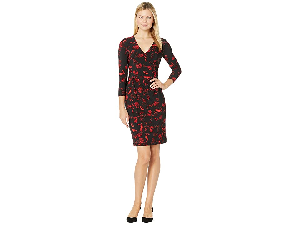 LAUREN Ralph Lauren B759 Bellaire Floral Bethy 3/4 Sleeve Day Dress (Black/Red/Multi) Women