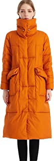 Krismile Women's Ultra Windproof Warm Long Length Down Jacket with 90% Down Parka Puffer Winter Coat