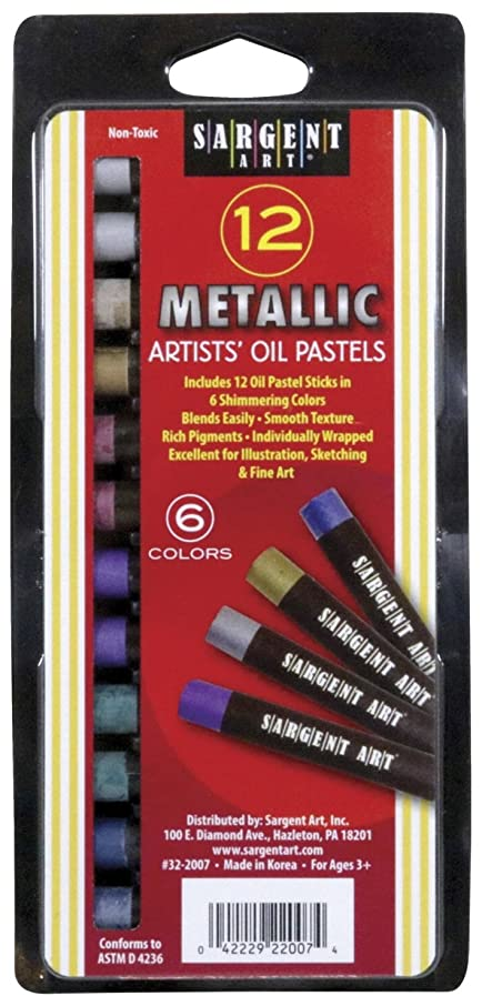 Sargent Art Gallery Non-Toxic Oil Pastel, 7/16 X 3-1/4 in, Assorted Metallic Color, Pack of 12