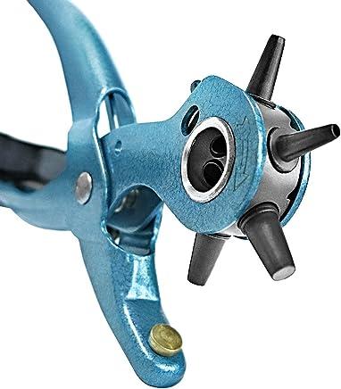 S&R Alicate Sacabocados para Cinturones y Cuero. MADE IN GERMANY, con 6 puntas intercambiables de 2 – 2,5 – 3 – 3,5 – 4 – 45 mm