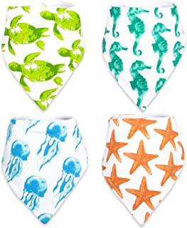 Stadela 100% Cotton Baby Bandana Drool Bibs with Snaps for Drooling Teething Burp Cloths 4 Pack Baby Shower Gift Set Unise...