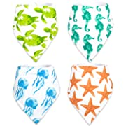Stadela Baby Adjustable Bandana Drool Bibs with Snaps for Drooling Teething Burp Cloths 4 Pack Baby Shower Gift Set Unisex Boy and Girl - Coral Reef Ocean Sea Beach Summer Tropical Turtle Seahorse