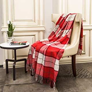 G Lake Red and White Plaid Blanket Throw Acrylic Soft Reversible Dyed Fringed Bed Blanket for Indoor Decorations 50