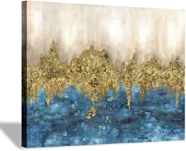 """Hand Painted Canvas Wall Art: Large Dark Blue Gold Abstract Artwork Textured Painting for Living Room (16"""" x 12'' x 1 Panel)"""