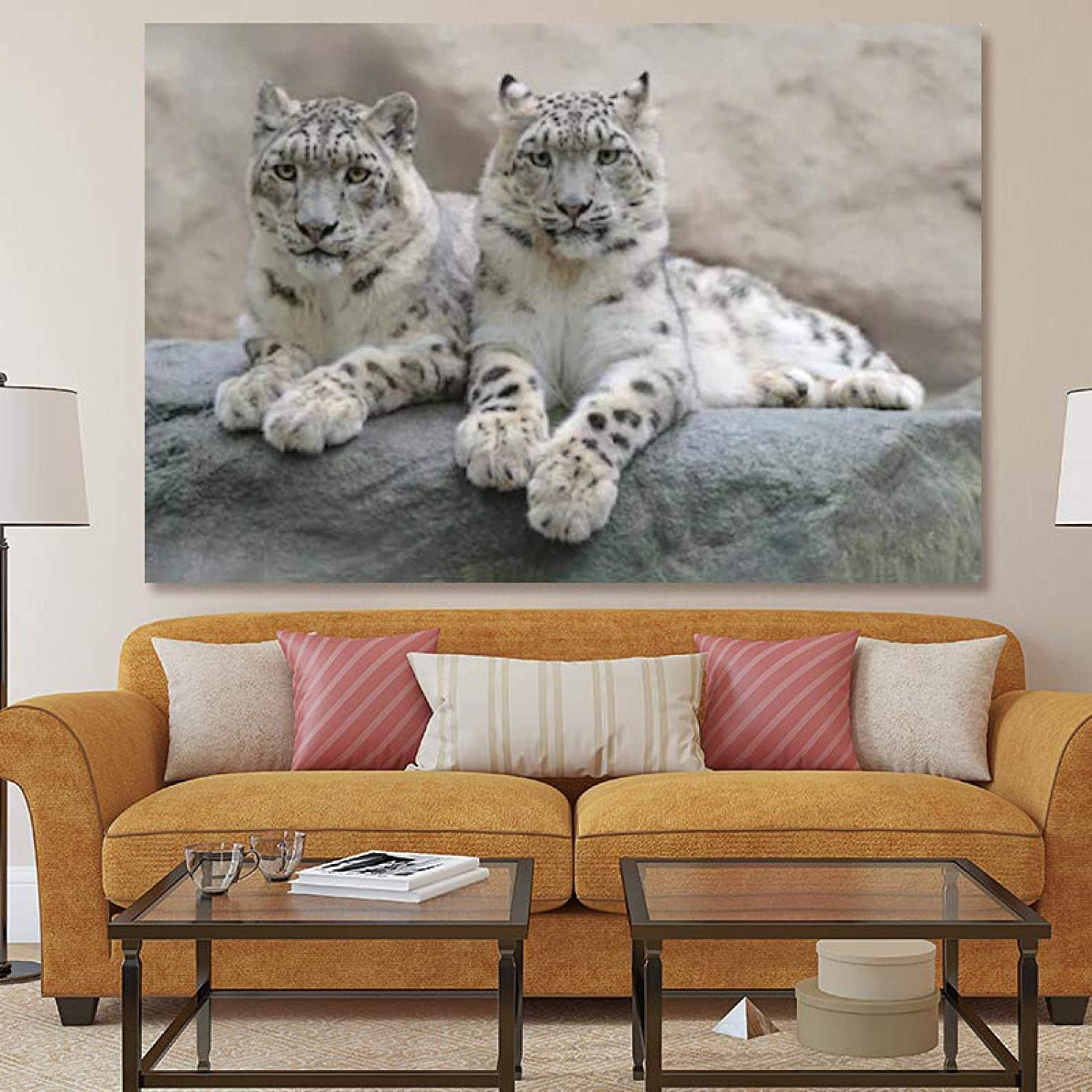 Sunsightly Canvas Wall Art Paintings Lying Dedication Max 85% OFF Th Leopards On