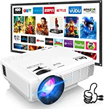 DR. J Professional HI-04 Mini Projector Outdoor Movie Projector with 100Inch Projector Screen, 1080P Supported Compatible ...