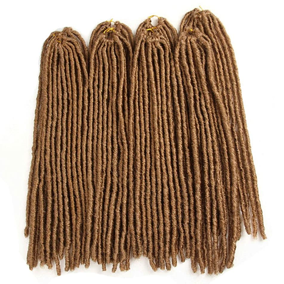 Synthetic Braiding Hair Extensions Heat Resistant Fiber Straight Dreadlocks Faux Locs Ombre Brown Black Color Crochet Braid Hair,#27,20inches,4Pcs/Lot