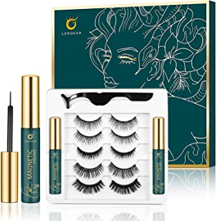Magnetic Eyelashes with Eyeliner Kit, 5 Pairs Natural Look Magnetic Lashes, 2 Tubes of Waterproof Magnetic Eyeliner, Comes With Applicator, Reusable & No Glue Needed