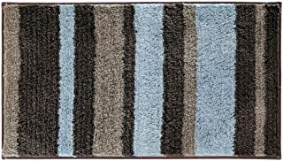 iDesign Stripz Microfiber Accent Bath Mat, Shower Rug for Master, Guest, Kids' Bathroom, Entryway, 21