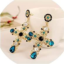Vintage Black Pink Crystal Cross Drop Earrings for Women Bohemian Large Long Earrings Jewelry 2019