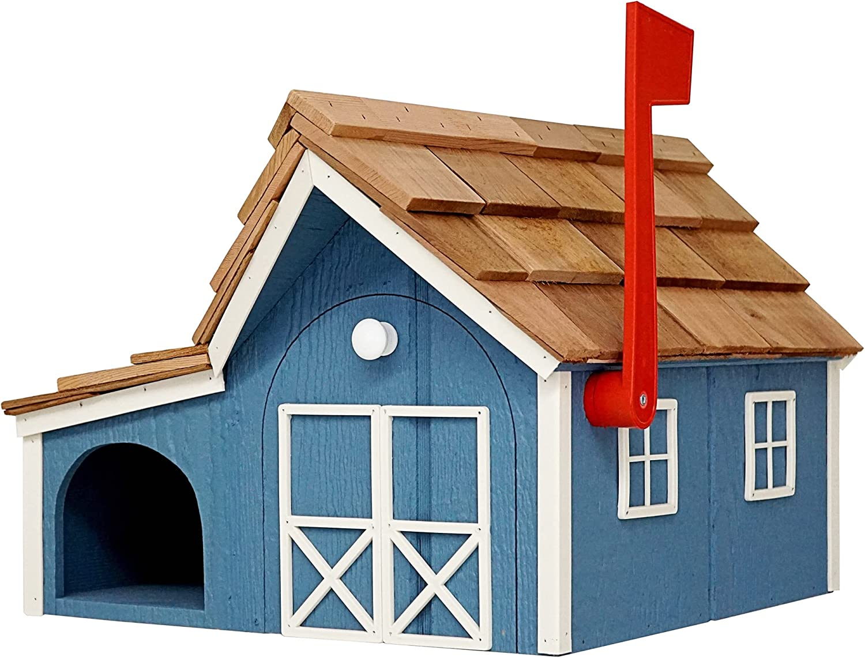 Amish Barnstyle Mailbox Combo (Blue  White)