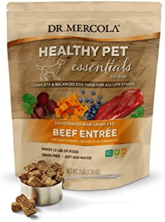 Dr. Mercola Healthy Pet Essentials Dehydrated Raw Grass Fed Beef Entrée, 3 lb Bag (1.36 kg), Non GMO, Gluten Free, Soy Free