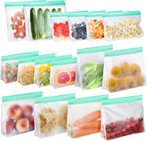 Reusable Food Storage Bags, TOPLANET 16 Pack Reusable Food Container Sets BPA Free Gallon Freezer Bags - 10 Stand-Up , 2 Sandwich and 4 Snack Bags to Keeping Food Fresh